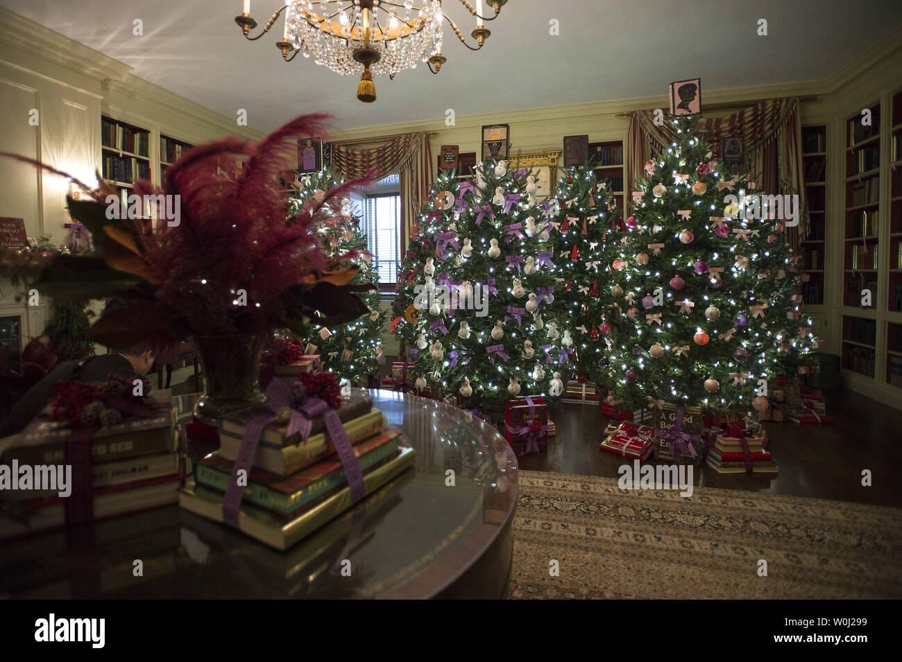 The Library is seen decorated during a holiday tour at the White House in Washington, D.C. on December 2, 2015. This year's team is 'A Timeless Tradition, and reflects long-held traditions cherished across America and commemorates extradorinaiy moments that help shaped the county. Photo by Kevin Dietsch/UPI. - Stock Image