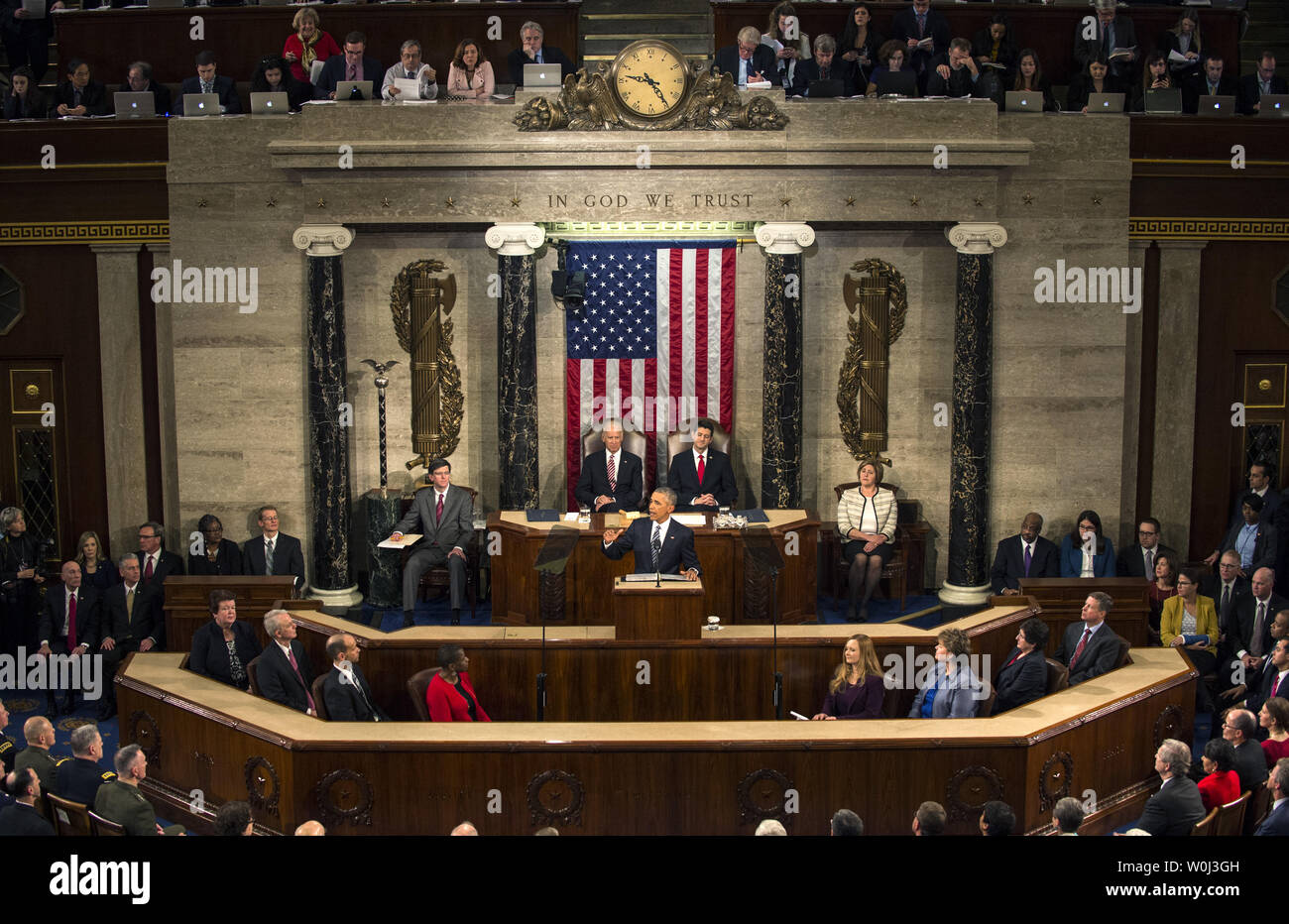 President Barack Obama delivers his State of the Union address before a joint session of Congress on Capitol Hill in Washington, DC on January 12, 2016.   The president addressed some of the anxieties of the nation while also noting the progress over the past seven years and his optimistic outlook for the country.   Photo by Pat Benic/UPI - Stock Image