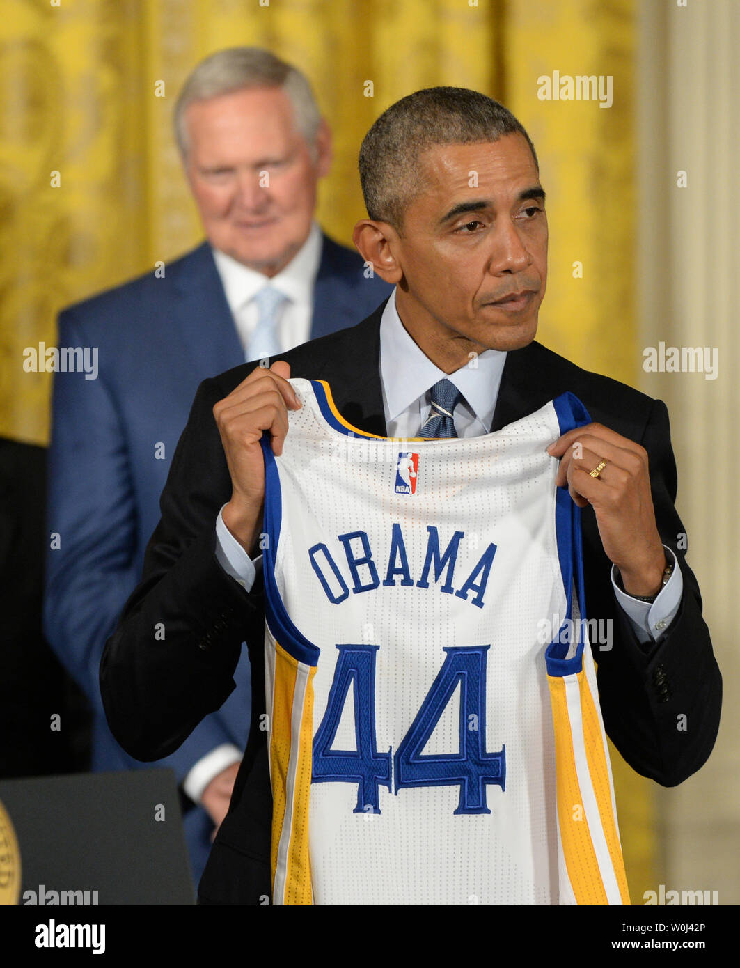 U S President Barack Obama Holds Up A Team Jersey As He Honors The 2015 Nba Champions Golden State Warriors In The East Room Of The White House In Washington Dc On February