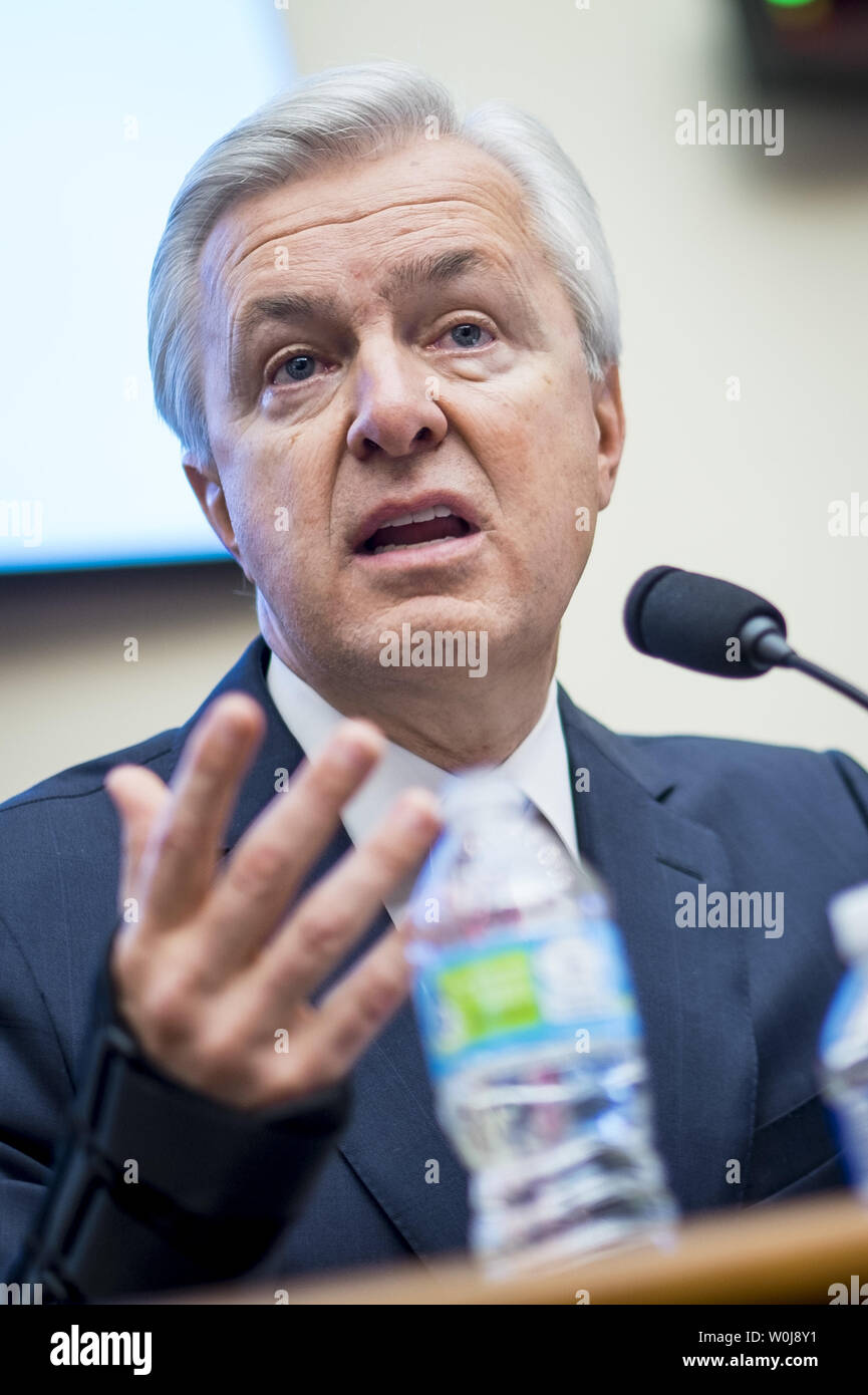 John Stumpf, chairman and CEO of Wells Fargo & Company, testifies before the House Financial Services Committee on September 29, 2016 in Washington. Stumpf is testifying about Wells Fargo's opening of unauthorized customer accounts.       Photo by Pete Marovich/UPI Stock Photo