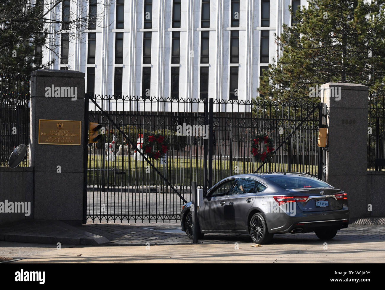 A car enters the Russian Embassy in northwest Washington, DC
