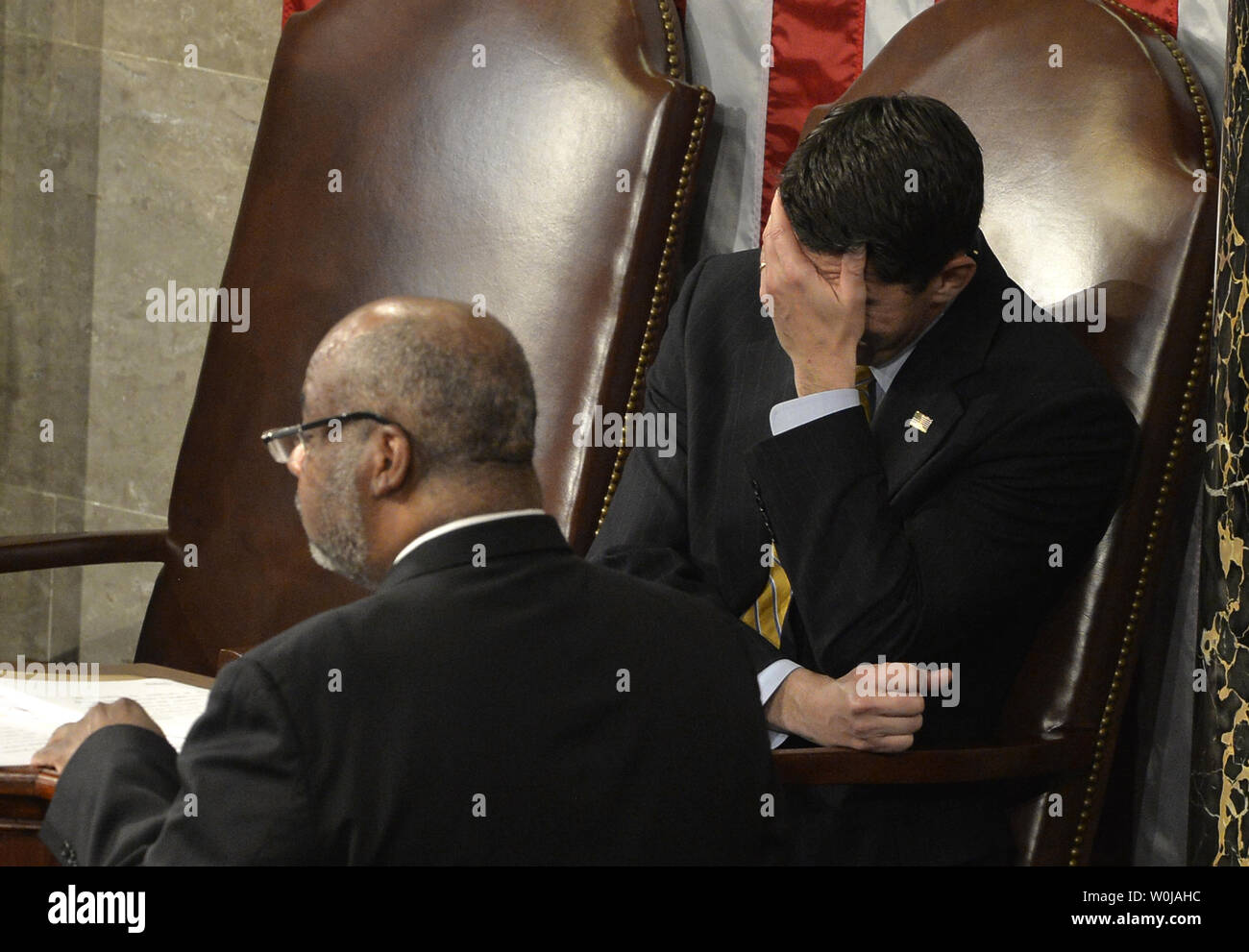 Speaker Paul Ryan (R-WI) reacts in laughter after Vice President Joe Biden said 'It's Over' in response to a floor protest during the procedure to count and validate the votes of the Electoral College on the floor of the House at the U.S. Capitol, January 6, 2017, in Washington, DC. The procedure, established by the Constitution, finalized Donald J. Trump and Mike Pence as the president and vice president.                 Photo by Mike Theiler/UPI - Stock Image
