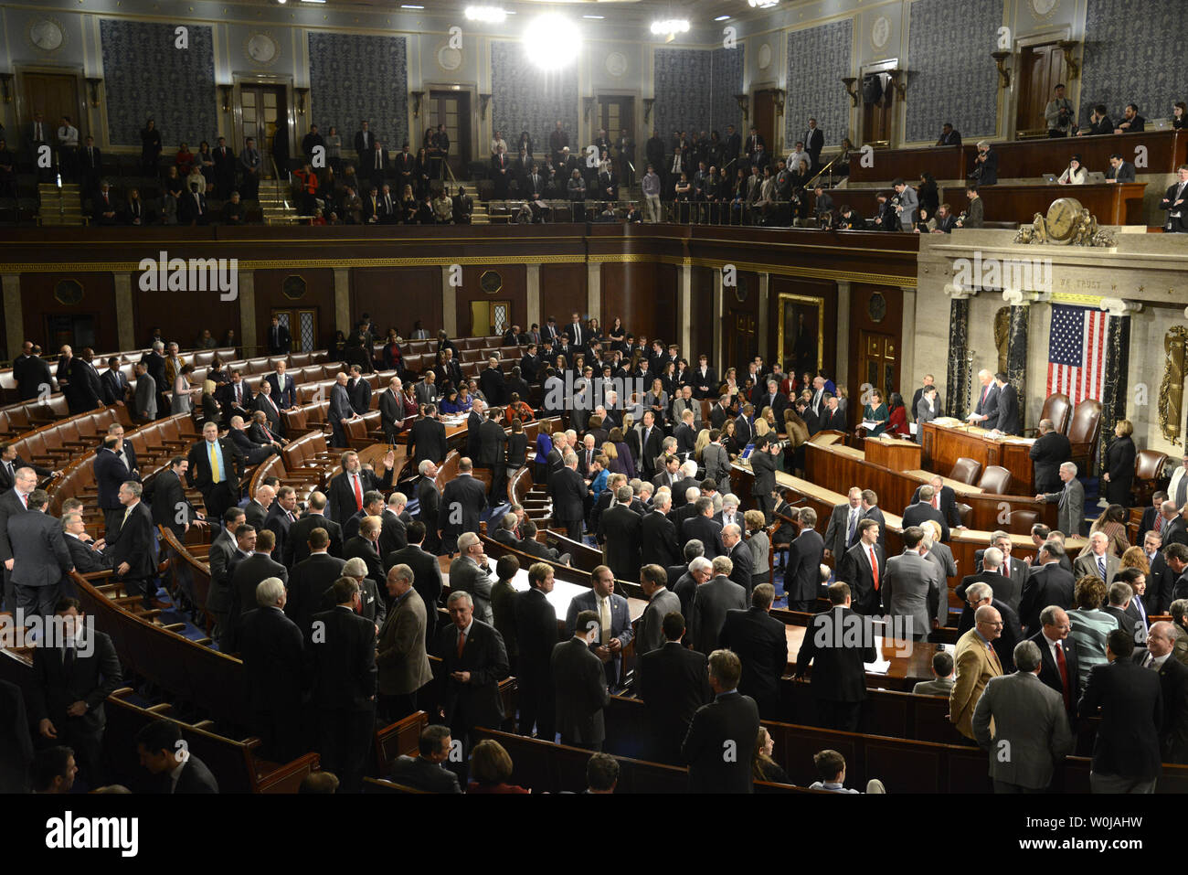General view of the floor of the House of Representatives during the Joint Session procedure to count and validate the votes of the Electoral College on the floor of the House at the U.S. Capitol, January 6, 2017, in Washington, DC. The procedure, established by the Constitution, finalized Donald J. Trump and Mike Pence as the president and vice president.                 Photo by Mike Theiler/UPI - Stock Image