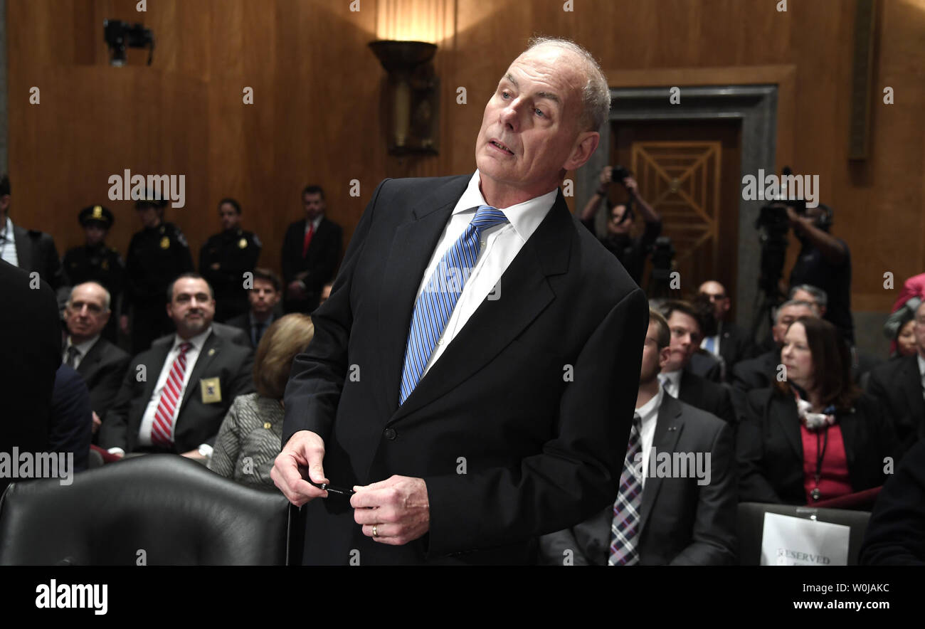 Retired U.S. Marine Corps Gen. John Kelly, nominee to head the Dept. of Homeland Security, awaits the start of the Senate Homeland Security and Governmental Affairs Committee, on Capitol Hill, January 10, 2017, in Washington, DC. Kelly, with a lifetime of serving in the military would, if confirmed, head an agency with over 240,000 employees.              Photo by Mike Theiler/UPI Stock Photo