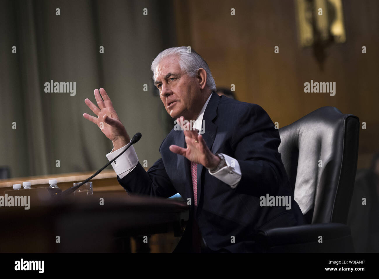 Former ExxonMobil CEO Rex Tillerson, President-Elect Trump's nominee for Secretary of State, testifies during his Senate Foreign Relations Committee confirmation hearing, on Capitol Hill in Washington, D.C. on January 11, 2017. Tillerson's close business relationship with Russia is expected to be scrutinized by the panel. Photo by Kevin Dietsch/UPI - Stock Image
