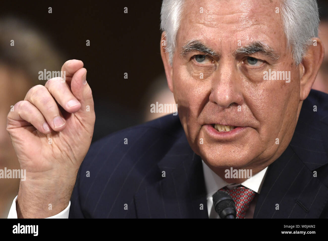 Former ExxonMobil CEO Rex Tillerson, nominated for secretary of state, responds to questioning during Senate Foreign Relations Committee confirmation hearings, on Capitol Hill, January 11, 2017, in Washington, DC. Tillerson's close business relationship with Russia is expected to be scrutinized by the panel.             Photo by Mike Theiler/UPI - Stock Image