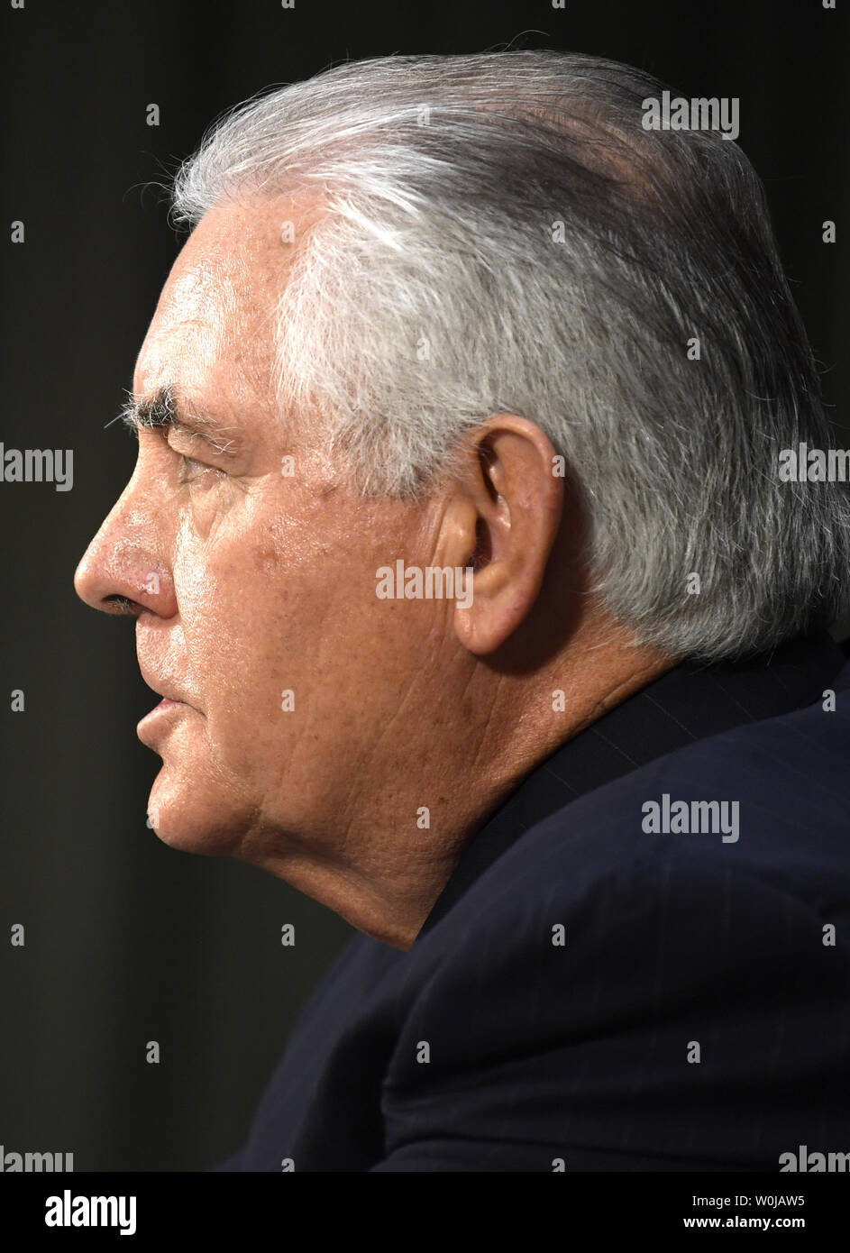 Former ExxonMobil CEO Rex Tillerson, nominated for secretary of state, responds to questioning during Senate Foreign Relations Committee confirmation hearings, on Capitol Hill, January 11, 2017, in Washington, DC. Tillerson's close business relationship with Russia is expected to be scrutinized by the panel.             Photo by Mike Theiler/UPI Stock Photo