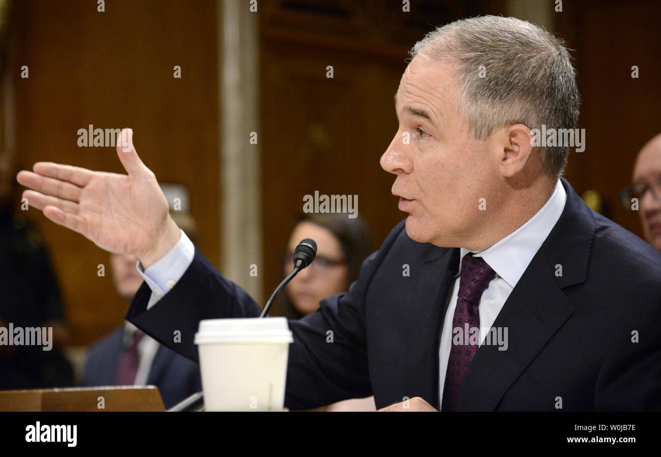 Oklahoma Attorney General Scott Pruitt, nominated to be the next administrator for the EPA, makes remarks during Senate Environment and Public Works Committee confirmation hearings, on Capitol Hill, January 18, 2017, in Washington, DC. Democrats on the panel are expected to closely question Pruitt's denial of climate change and his close ties to the gas-and-oil industry.             Photo by Mike Theiler/UPI Stock Photo