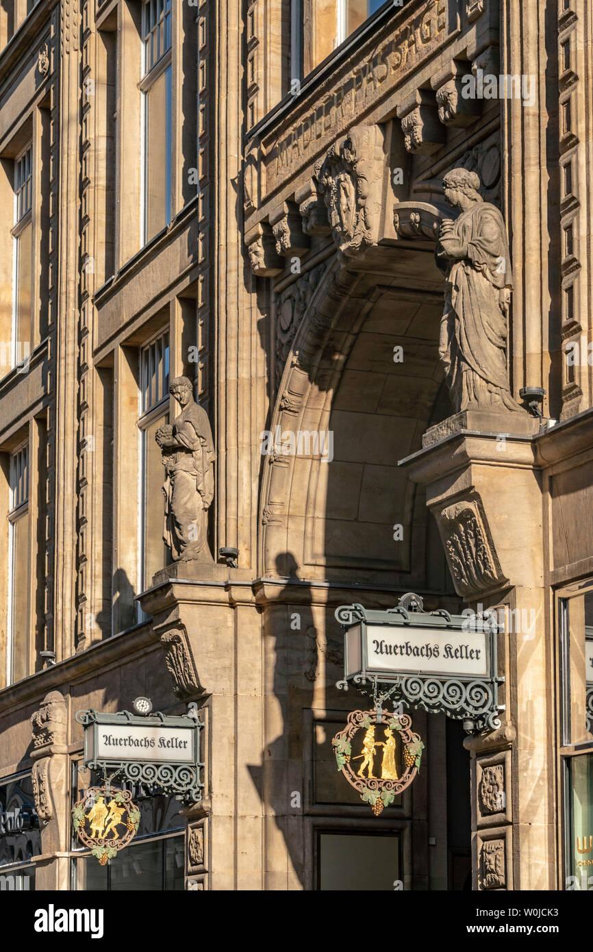 Sign of Auerbachs Keller, Madlerpassagen, Leipzig, Germany | Schild von Auerbachs Keller, Maedlerpassagen, Leipzig, Sachsen, Ostdeutschland, - Stock Image