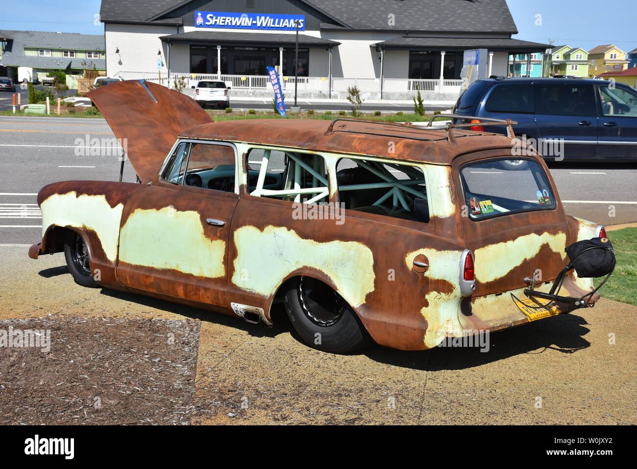 A Dragster built from an old Nash Station Wagon. - Stock Image