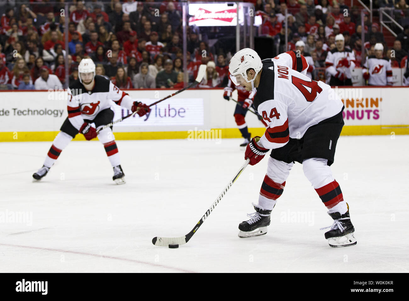 innovative design eedbb 53a29 New Jersey Devils left wing Miles Wood (44) carries the puck ...