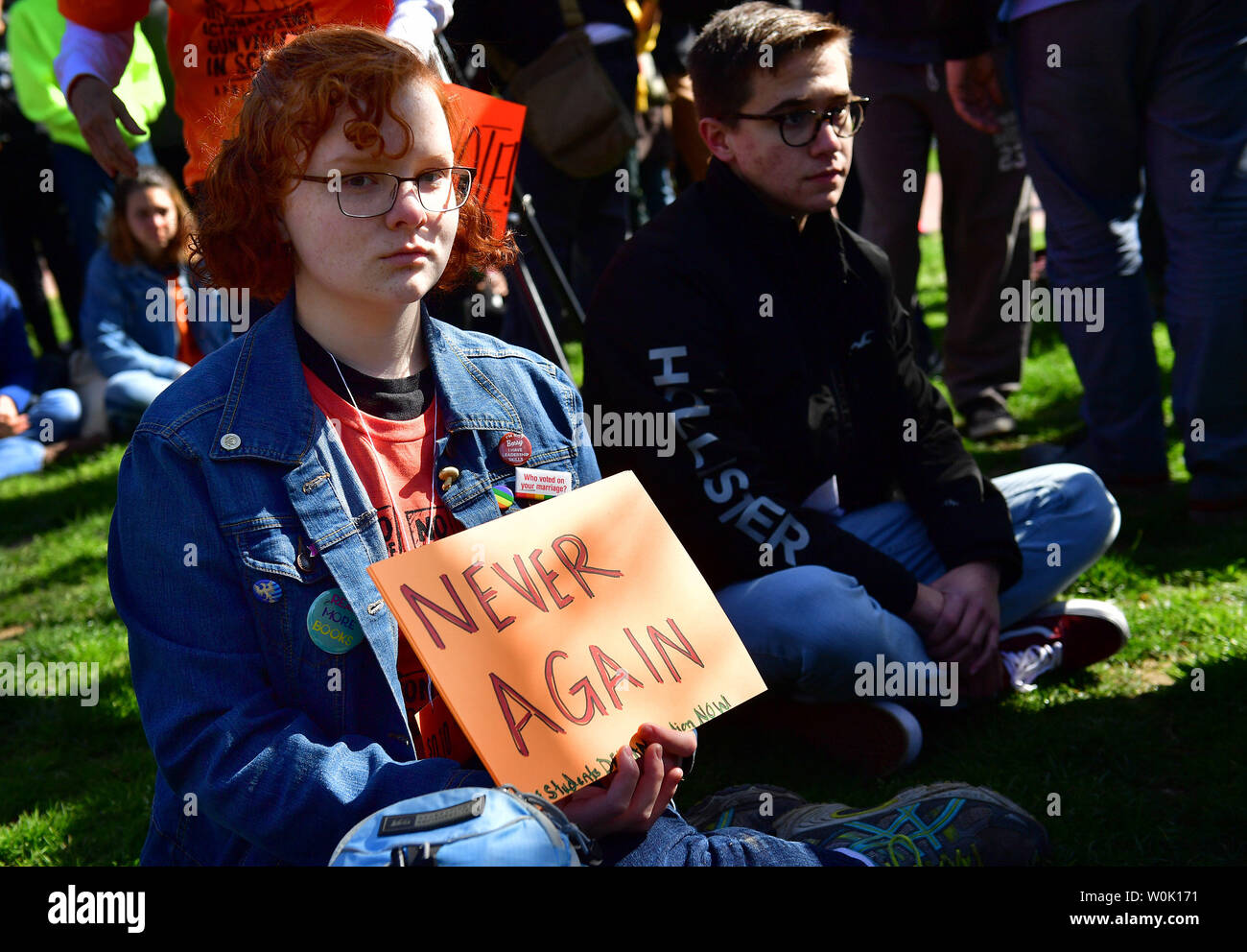Local area students hold a gun protest sit-in near the White House
