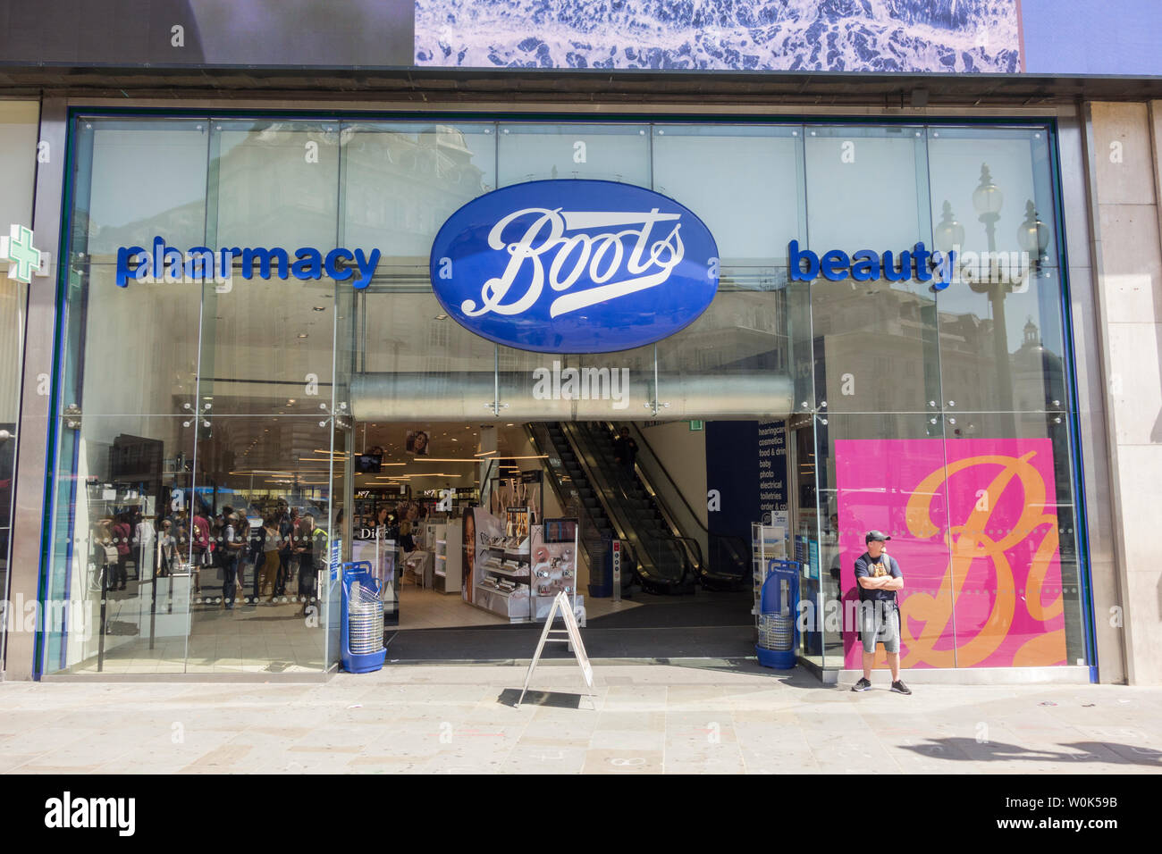 Exterior of Boots Store, Piccadilly Circus, London, UK Stock