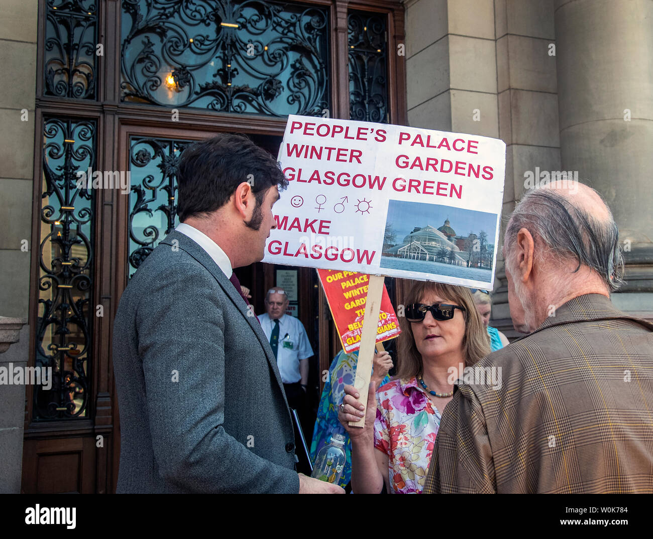 Glasgow, Scotland, UK. 27th June 2019: People protesting to save the Peoples Palace and the Winter Gardens. - Stock Image