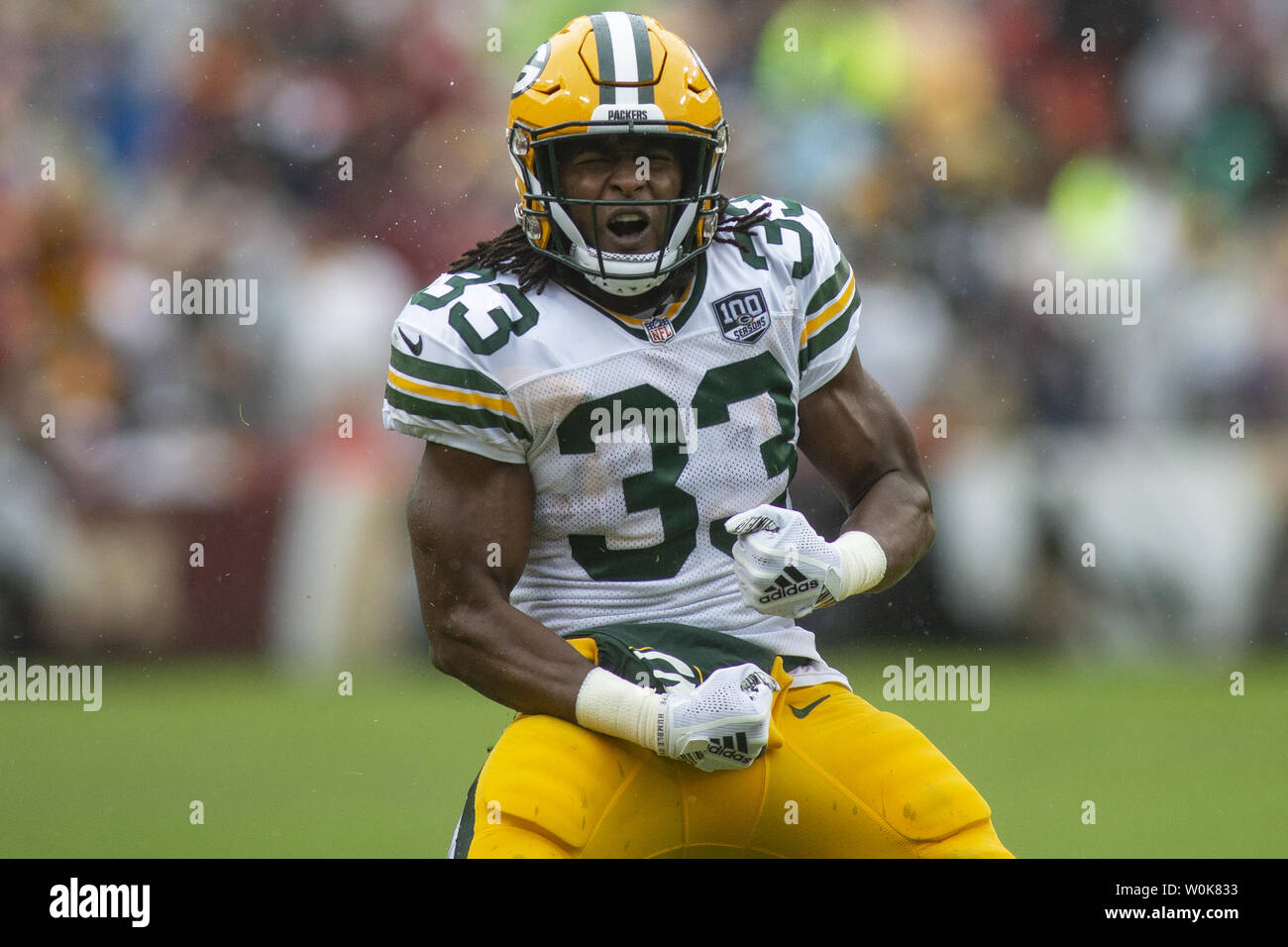 newest 8ce13 ffcdb Green Bay Packers running back Aaron Jones (33) celebrates a ...