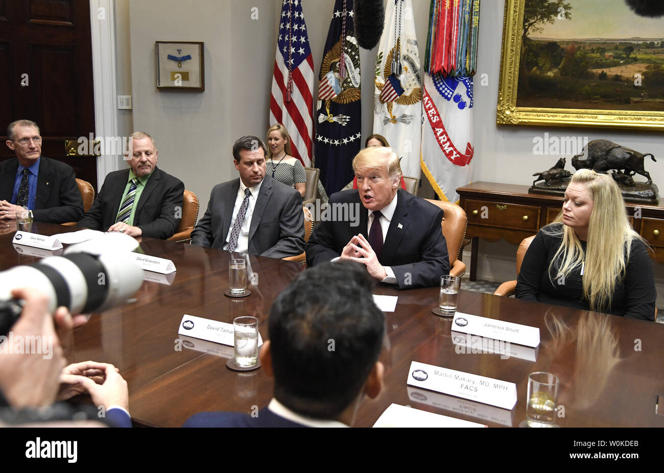 Trump Round Table.President Donald Trump C Makes Remarks During A Roundtable
