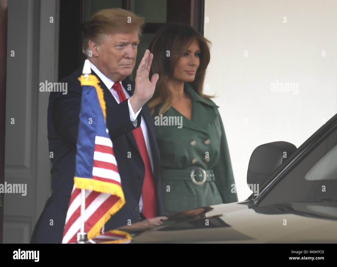 President Donald Trump and First Lady Melania Trump wave goodbye to Czech Prime Minister Andrej Babis as he departs the White House, March 7, 2019, in Washington, DC. The Czech Republic is a member of NATO, and talks were expected to include the conflict in Syria.      Photo by Mike Theiler/UPI - Stock Image