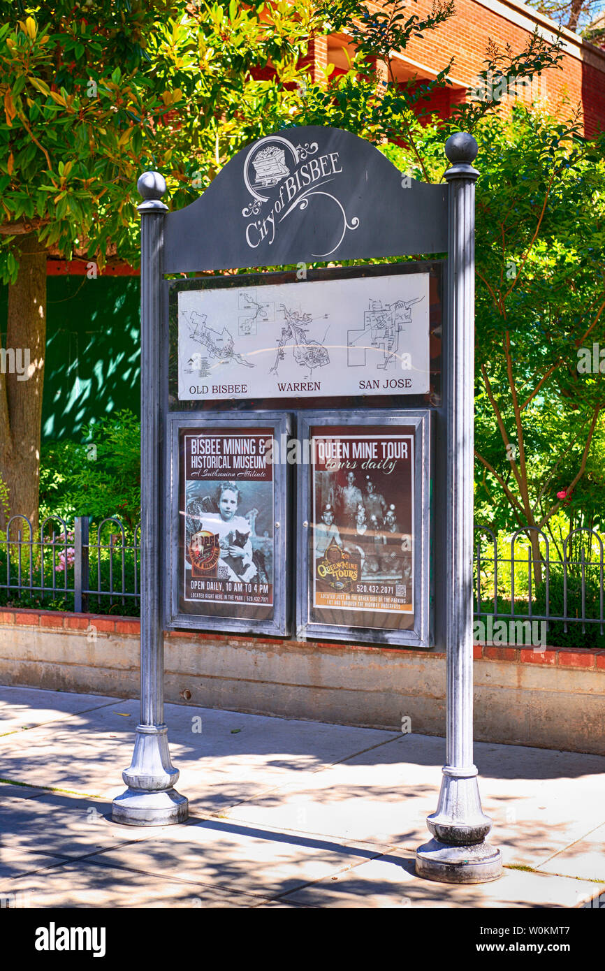 City Square noticeboard in downtown Bisbee, AZ - Stock Image