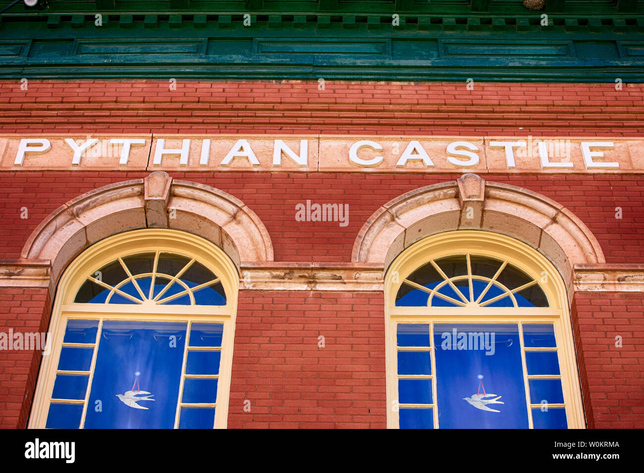 The Pythian Castle building in historic Bisbee AZ. Once a secret society lodge, now newly restored into apartments Stock Photo