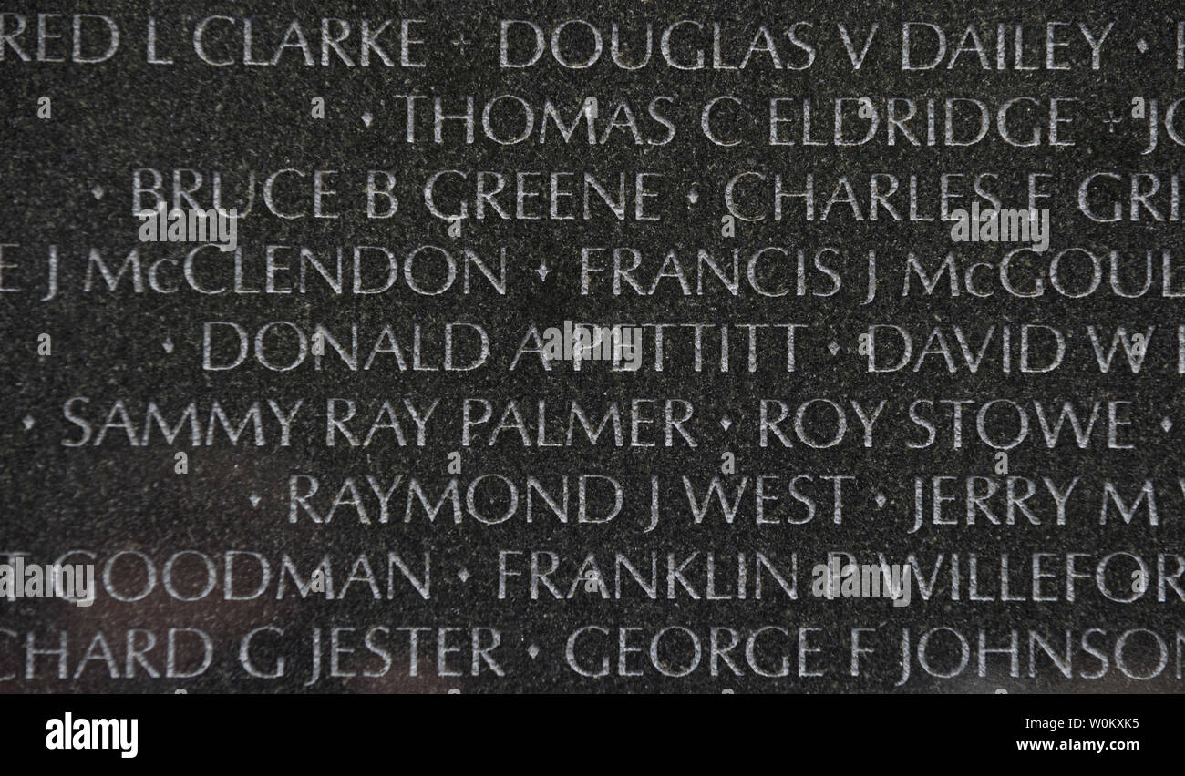 The names of the fallen are etched into the Vietnam Veterans