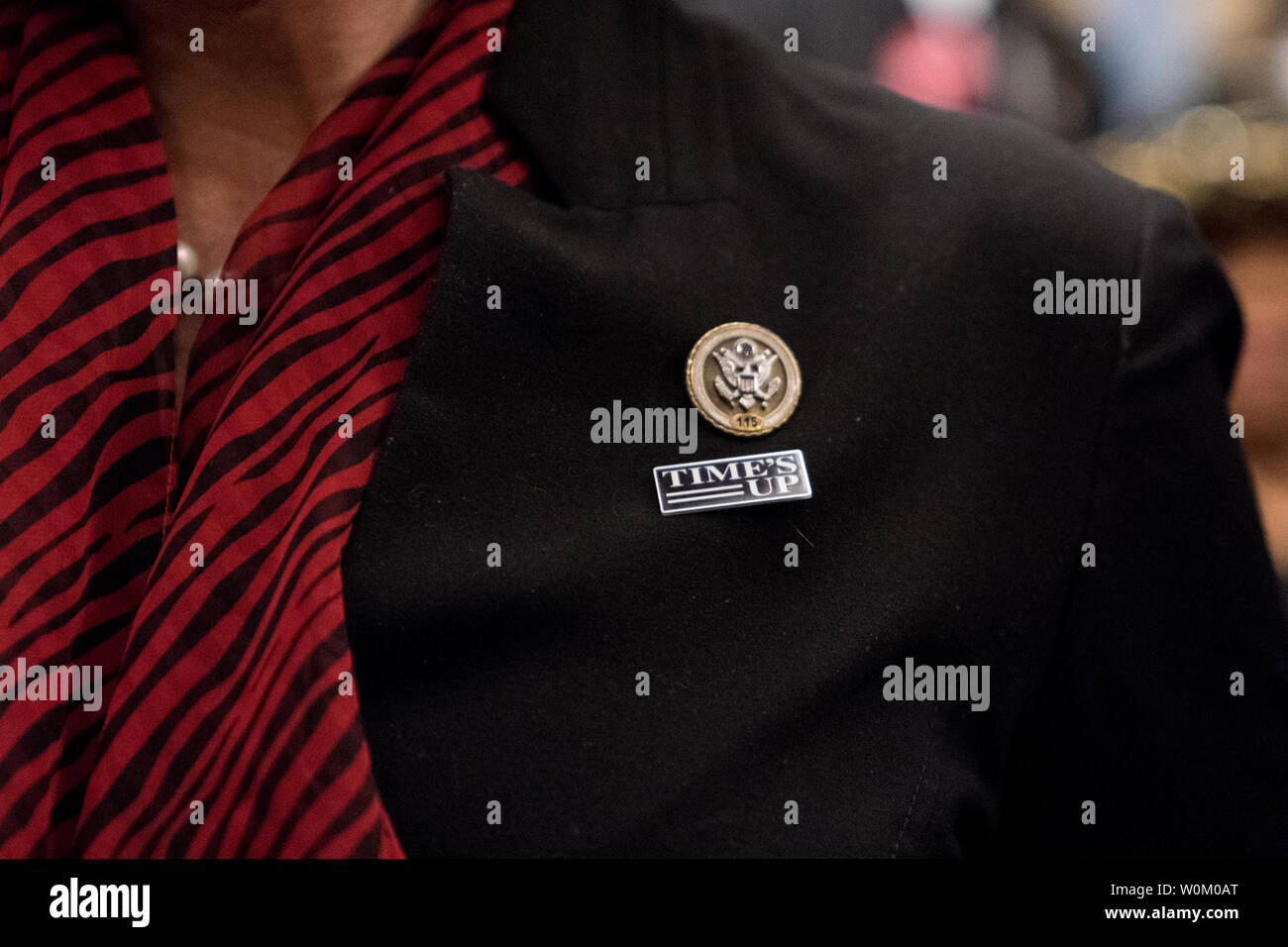 A Member of Congress wears a Time's Up pin and all black in