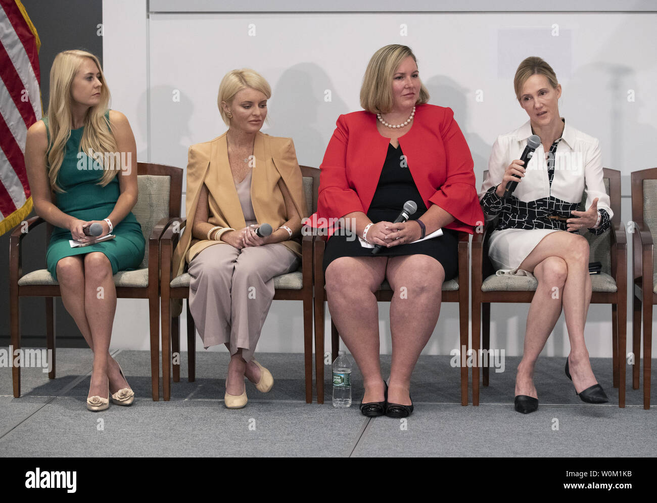 First lady Melania Trump (not shown) listens as social media executives discuss online bullying during a Cyberbullying Summit at the Department of Health and Human Resources building in Rockville, Maryland on August 20, 2018.  The participants in this panel were Facebook's  Antigone Davis (R), Jen Hanley of Family Online Safety Institute, Google's CoCo Pannell and Twitter's Lauren Culbertson. The summit was part of the first lady's Be Best campaign.   Photo by Pat Benic/UPI Stock Photo
