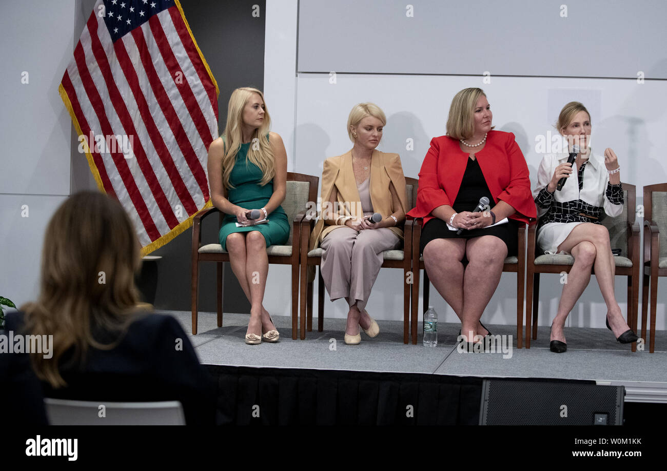 First lady Melania Trump (L) listens as social media executives discuss online bullying during a Cyberbullying Summit at the Department of Health and Human Resources building in Rockville, Maryland on August 20, 2018.  The participants in this panel were Facebook's  Antigone Davis (R), Jen Hanley of Family Online Safety Institute, Google's CoCo Pannell and Twitter's Lauren Culbertson. The summit was part of the first lady's Be Best campaign.   Photo by Pat Benic/UPI Stock Photo