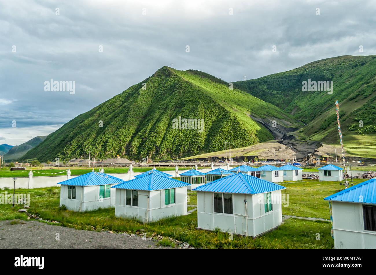 Natural Scenery of Xindu Bridge Tibetan Area in Tagong, Sichuan Stock Photo