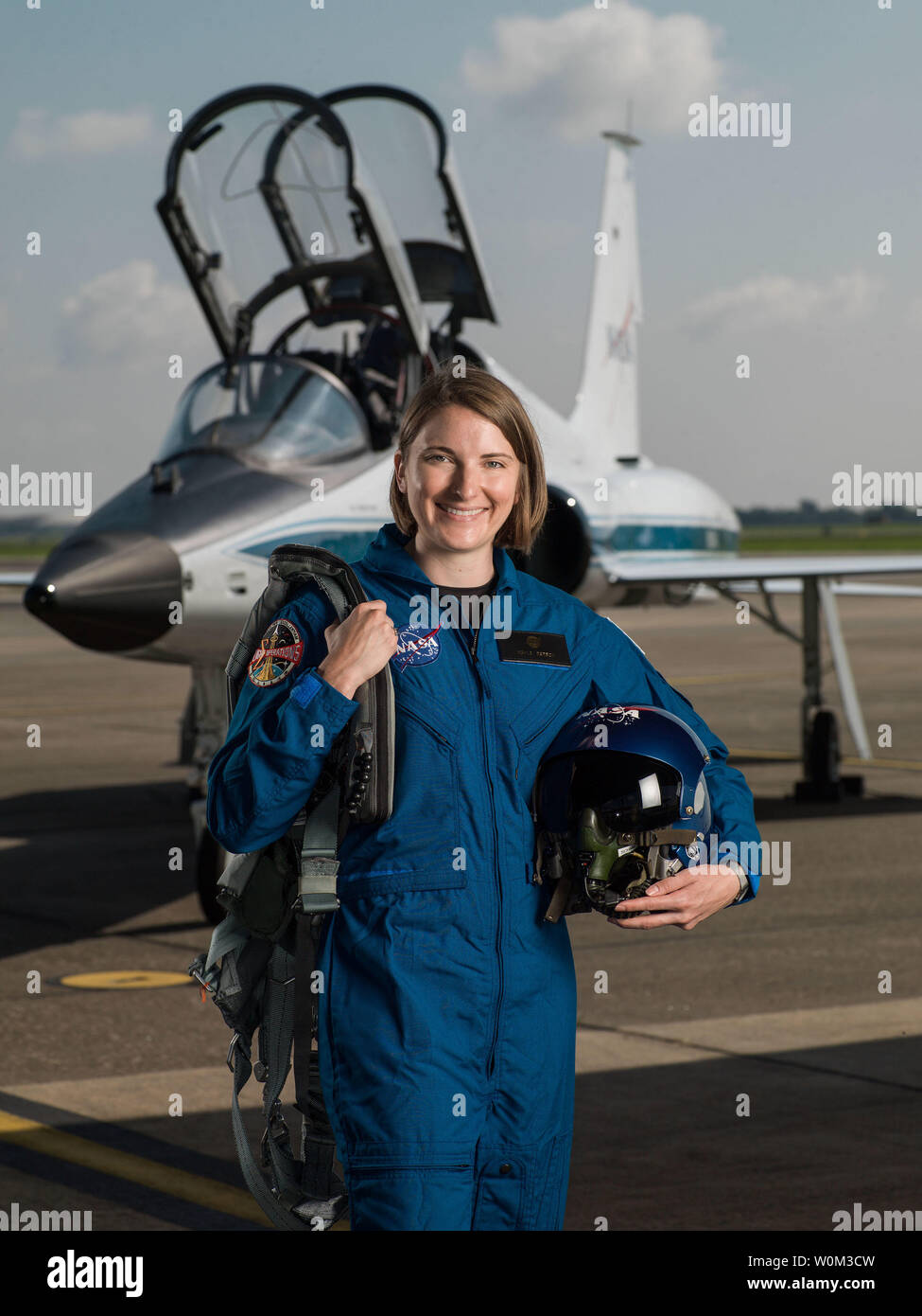 Kayla Barron has been selected by NASA to join the 2017 Astronaut Candidate Class. She will report for duty in August 2017. The Washington native graduated from the U.S. Naval Academy with a Bachelor's degree in Systems Engineering. A Gates Cambridge Scholar, Barron earned a Master's degree in Nuclear Engineering from the University of Cambridge. As a Submarine Warfare Officer, Barron was a member of the first class of women commissioned into the submarine community. NASA Photo by Robert Markowitz/UPI - Stock Image