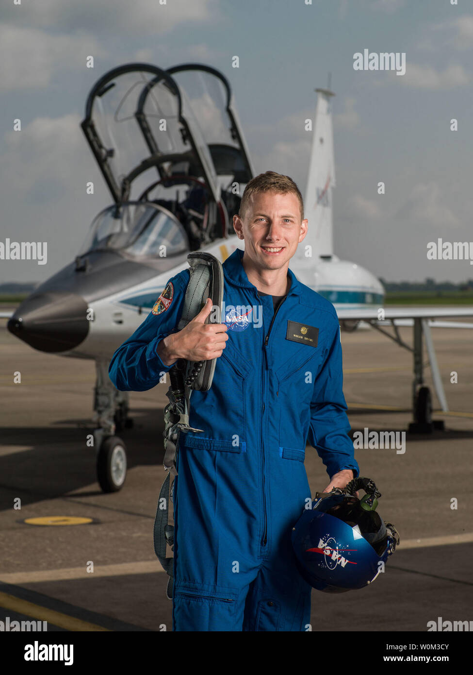 Warren 'Woody' Hoburg has been selected by NASA to join the 2017 Astronaut Candidate Class. He will report for duty in August 2017. The Pennsylvania native earned a Bachelor's degree in Aeronautics and Astronautics from the Massachusetts Institute of Technology (MIT) and a Doctorate in Electrical Engineering and Computer Science from the University of California, Berkeley. NASA Photo by Robert Markowitz/UPI - Stock Image