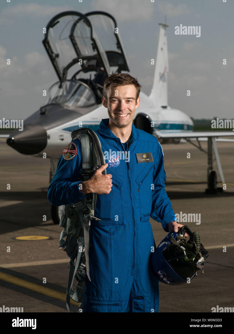 Robb Kulin has been selected by NASA to join the 2017 Astronaut Candidate Class. He will report for duty in August 2017. The Alaska native is a Launch Chief Engineer at SpaceX and earned a Bachelor's degree in Mechanical Engineering from the University of Denver, before going on to complete a Master's degree in Materials Science and a Doctorate in Engineering at the University of California, San Diego. NASA Photo by Robert Markowitz/UPI - Stock Image