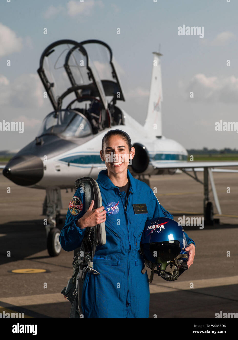 Jasmin Moghbeli has been selected by NASA to join the 2017 Astronaut Candidate Class. She will report for duty in August 2017. The New York native earned a Bachelor's degree in Aerospace Engineering with Information Technology at the Massachusetts Institute of Technology, followed by a Master's degree in Aerospace Engineering from the Naval Postgraduate School. NASA Photo by Robert Markowitz/UPI - Stock Image