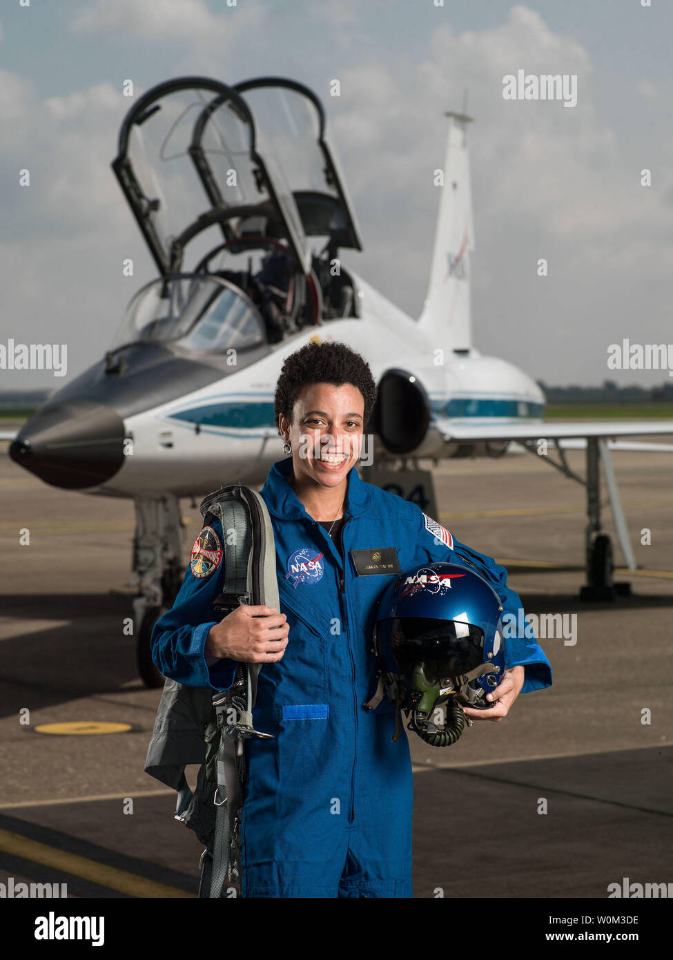 Jessica Watkins has been selected by NASA to join the 2017 Astronaut Candidate Class. She will report for duty in August 2017. The Colorado native earned a Bachelor's degree in Geological and Environmental Sciences at Stanford University, and a Doctorate in Geology from the University of California, Los Angeles (UCLA). NASA Photo by Robert Markowitz/UPI - Stock Image