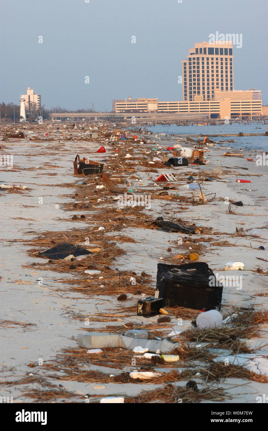 Debris Left By Receding Waters On The Beach In Biloxi Ms On