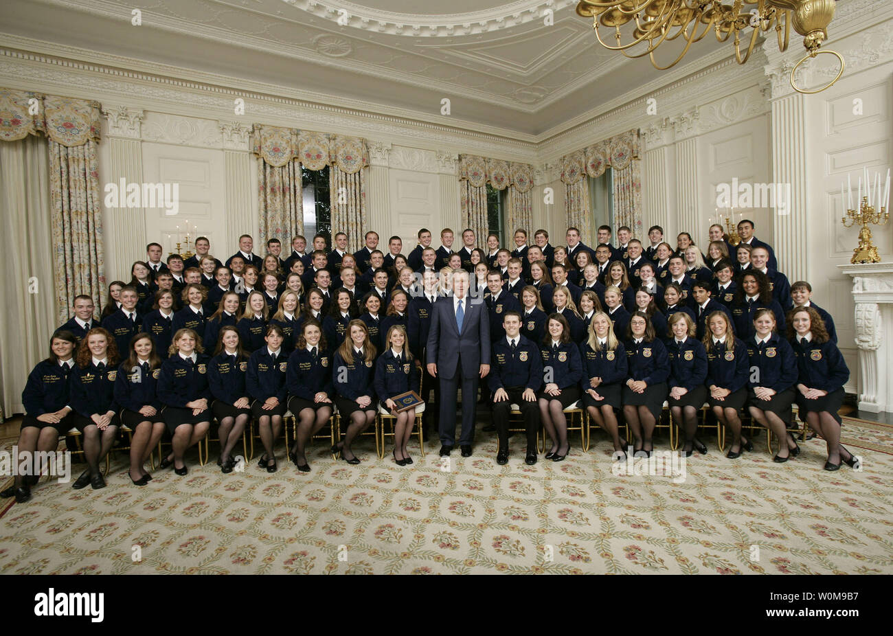 President George W  Bush poses with members of the National