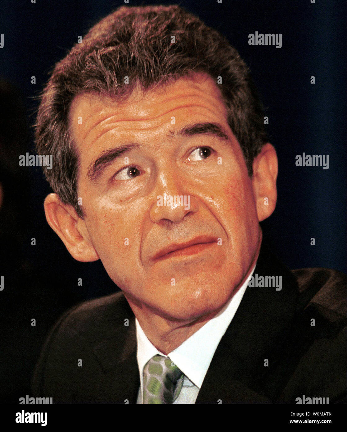 CEO of BP Lord John Browne, pictured in a June 13, 2000 file photo in Calgary, resigned after a judge allowed a newspaper to publish allegations that Browne misused company resources in London on May 2, 2007.  (UPI Photo/Heinz Ruckemann/FILES) - Stock Image