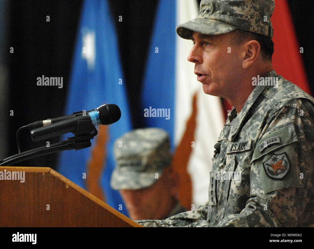 Outgoing Multi-National Force-Iraq Commander U.S. Army Gen. David Petraeus speaks during the change-of-command ceremony at the Al Faw Palace in Baghdad, on September 16, 2008. Gen. Odierno is taking over control of the Multi-National Force Iraq while Gen. Petraeus will be the new commander of U.S. Central Command. (UPI Photo/Adam M. Stump/DOD) Stock Photo