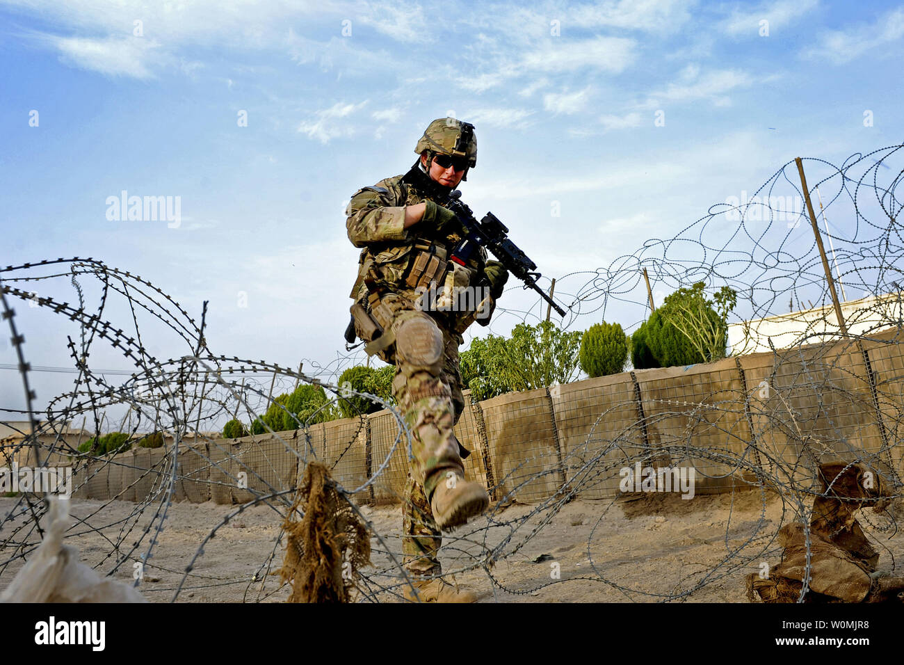 U.S. Air Force Airman 1st Class Steven Armenta patrols through Qalat City, Afghanistan, on Aug. 9, 2011.  Armenta is a member of Provincial Reconstruction Team Zabul's security force.  UPI/Grovert Fuentes-Contreras/USAF Stock Photo