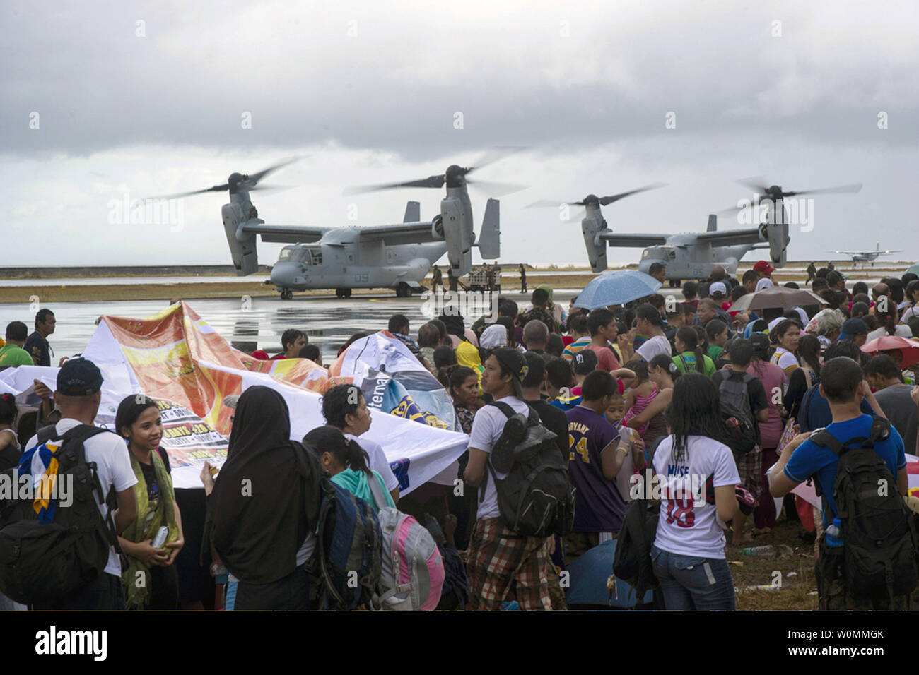 Supplies are loaded onto U.S. Marine Corps MV-22 Osprey aircraft as the U.S. military assist in relief efforts in the wake of Typhoon Haiyan, in Tacloban, Leyte province, Philippines, Nov. 14, 2013. U.S. Military personnel are assisting the Philippine Armed Forces in providing humanitarian assistance and disaster relief to affected areas throughout the Philippines following the deadly typhoon that left 2,357 dead.  UPI/Ricardo R. Guzman/US Navy Stock Photo