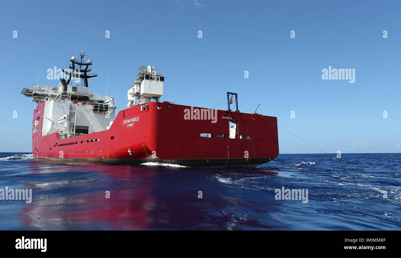 The Australian Defense Vessel Ocean Shield searches for the flight data recorder and cockpit voice recorder of a Malaysia Airlines jetliner MH370  missing in the Indian Ocean, about 1,000 miles off the coast of Perth, Australia.  The U.S. Navy 'towed pinger locator' connected to the Ocean Shield picked up signals consistent with that of the missing jetliner it was announced today April 7, 2014.   UPI/Bradley Darvill/Australian Defense Force - Stock Image