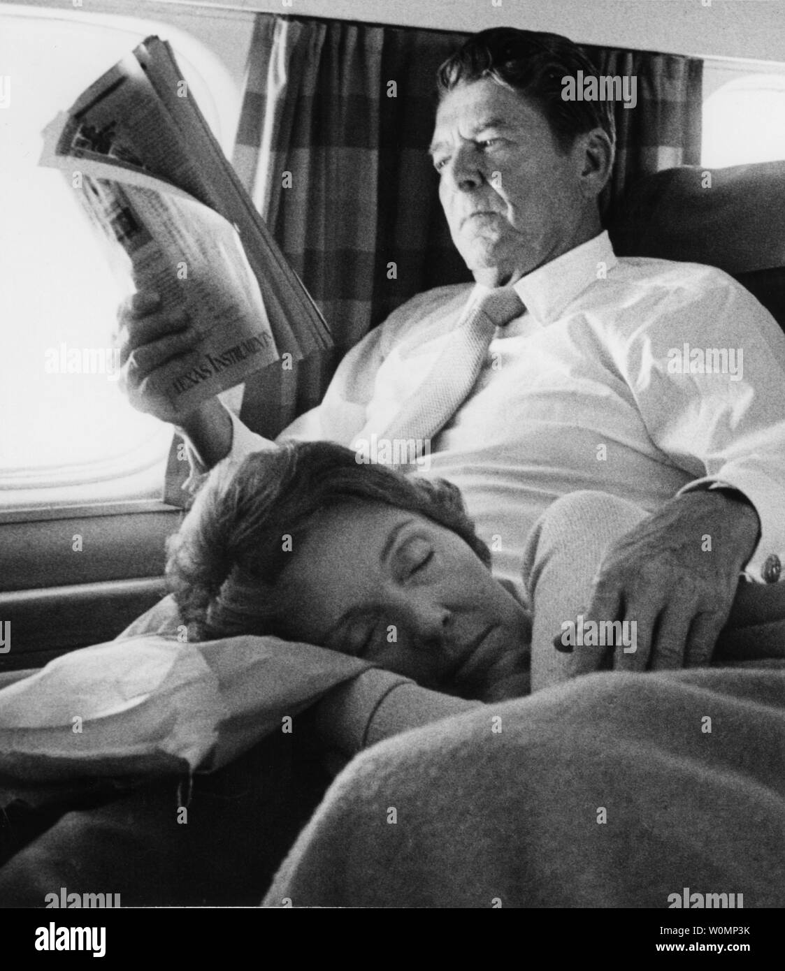 In this file photo, tired campaigner Nancy Reagan naps on