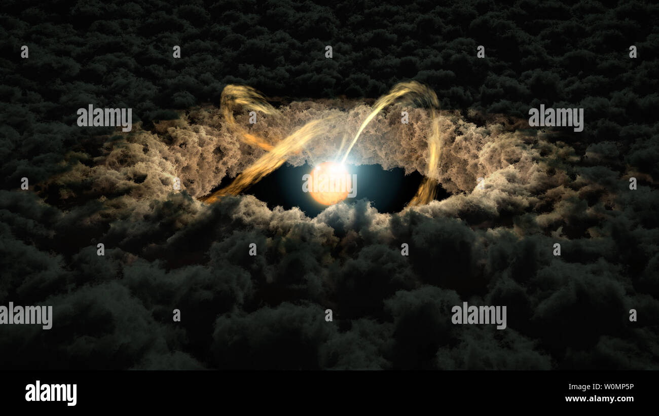 """This illustration, released by NASA on April 27, 2016, shows a star surrounded by a protoplanetary disk. A new study uses data from NASA's Spitzer Space Telescope and four ground-based telescopes to determine the distance from a star to the inner rim of its surrounding protoplanetary disk. Researchers used a method called """"photo-reverberation,"""" also known as """"light echoes."""" NASA/UPI Stock Photo"""