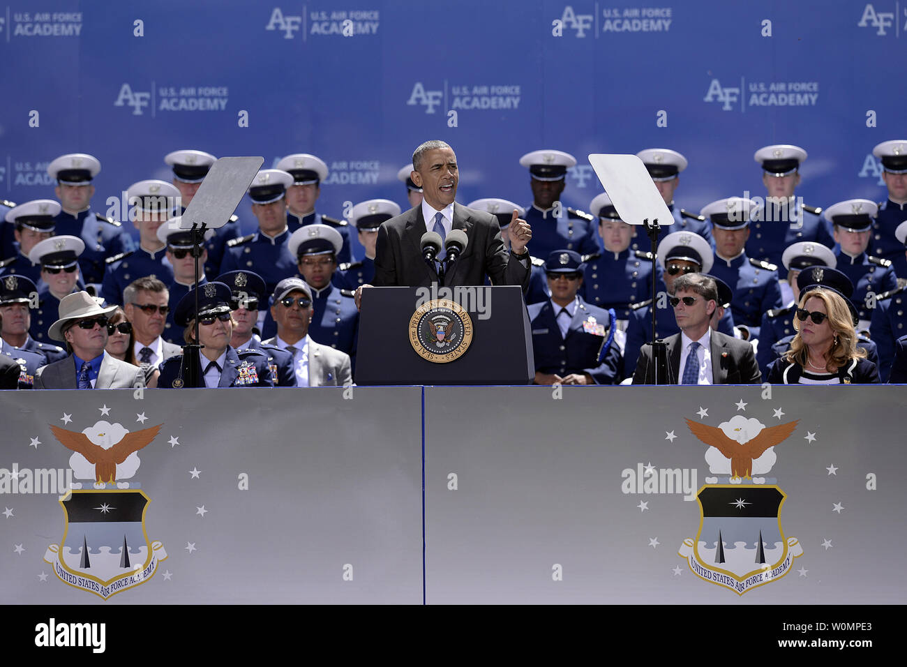 President Barack Obama delivers the graduation address to the U.S. Air Force Academy Class of 2016 at Falcon Stadium in Colorado Springs, Colo., on June 2, 2016. 821 cadets graduated to become the newest 2d Lieutenants in the Air Force. Photo by Mike Kaplan/U.S. Air Force/UPI Stock Photo