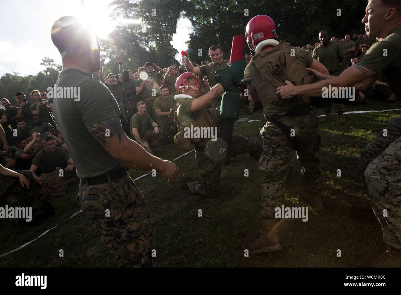 Marines and sailors with Battalion Landing Team, 3rd Battalion, 6th Marine Regiment, participated in a Tuefel Hunden, or Devil Dog, challenge August 12, 2016, on Camp Lejeune N. C. Companies competed against each other in sprint relays, pugil stick fighting, a pull-up and push-up competition, ground fighting and a high-intensity tactical training course. The field meet was organized to build camaraderie among the Marines and sailors. BLT 3/6 is a part of the 24th Marine Expeditionary Unit. Photo by Matthew Callahan/U.S. Marine Corps/UPI Stock Photo