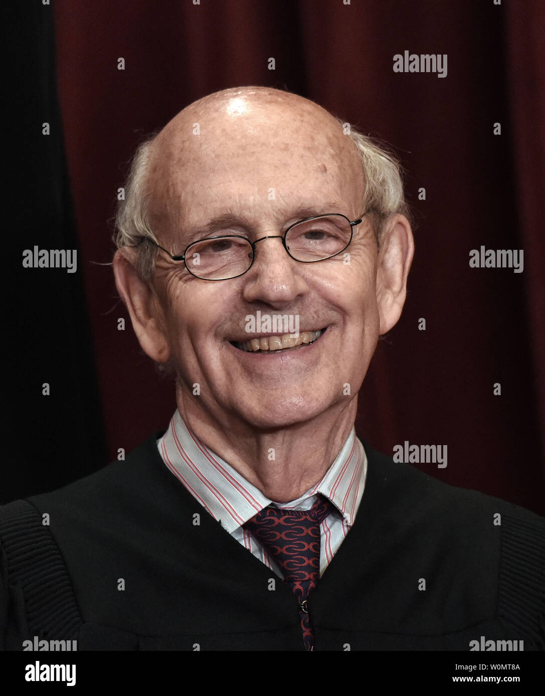 Associate Justice Stephen Breyer is shown as members of the U.S. Supreme Court pose for a group photograph at the Supreme Court building in Washington, DC on June 1 2017.   Photo by Olivier Douliery/UPI - Stock Image