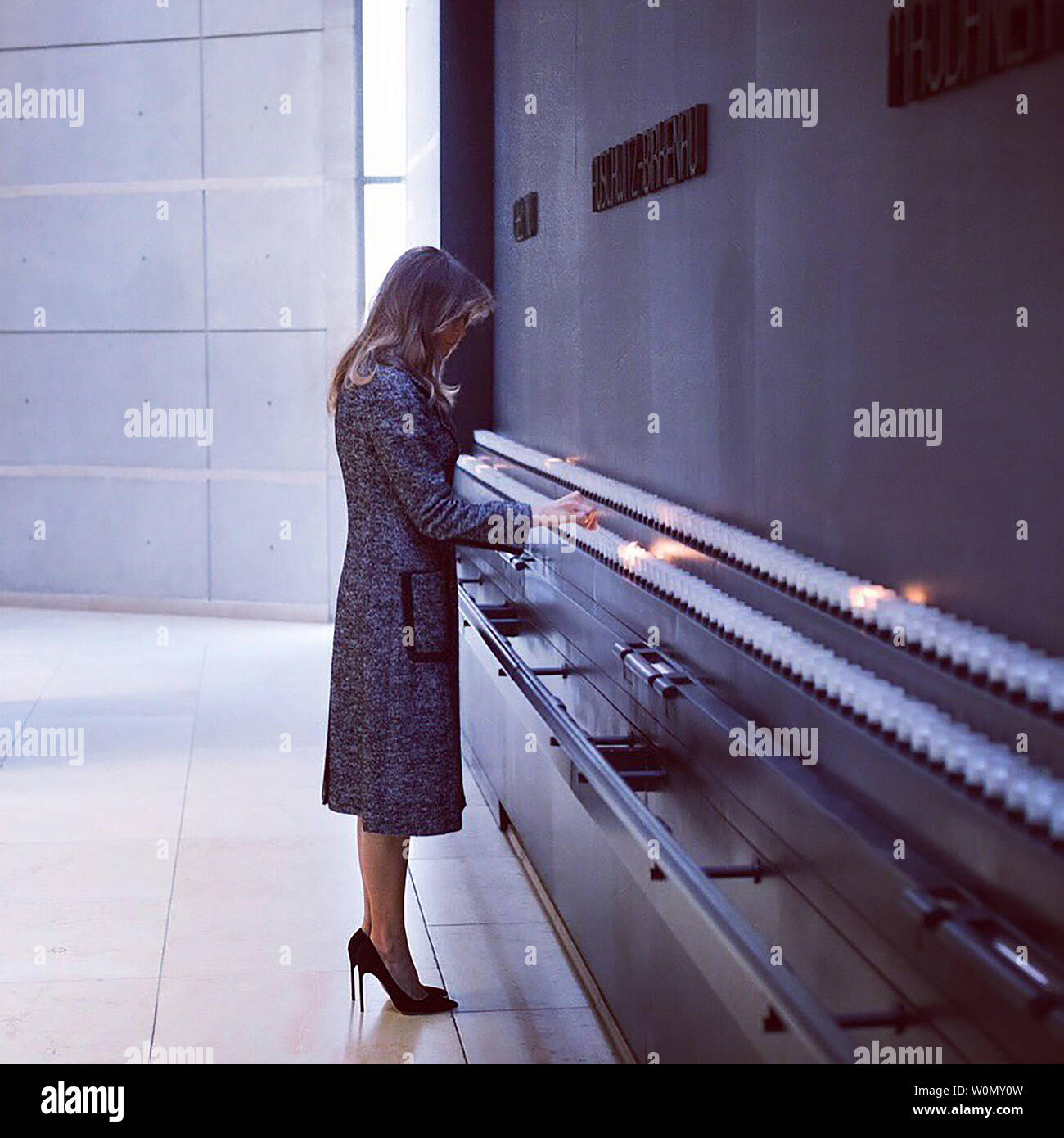"""First Lady Melania Trump is pictured visiting the Holocaust Museum in Washington, D.C., on January 25, 2018. Accompanying the photographs she posted on Twitter, the president's wife wrote, """"Thank you @HolocaustMuseum for a powerful & moving tour that honors the millions of innocent lives lost, and educates us on the tragedies and effects of the holocaust.  Photo via FLOTUS/Twitter Stock Photo"""