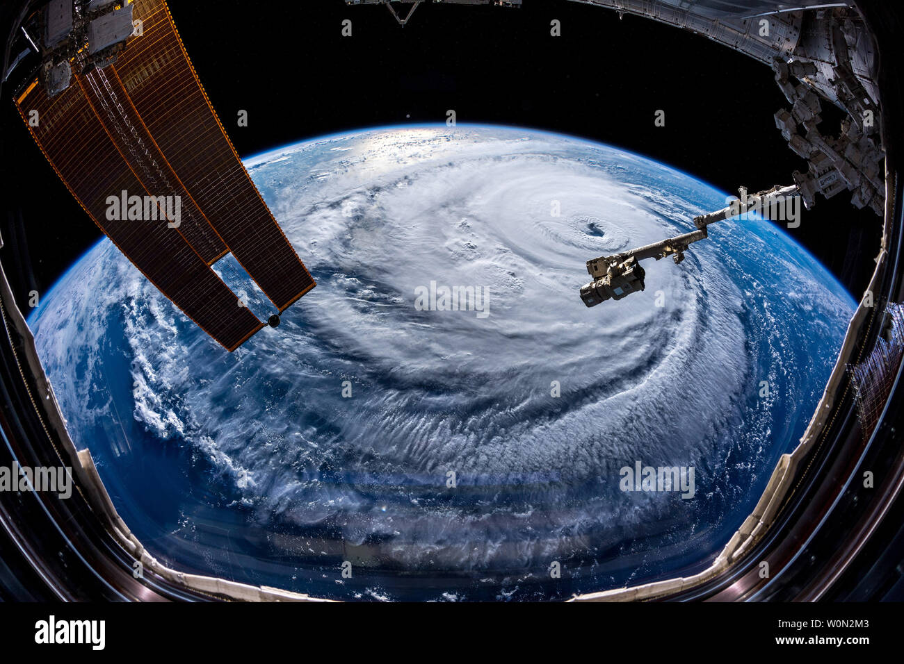 Tweeting on September 12, 2018, from aboard the International Space Station, ESA astronaut Alexander Gerst shared: 'Watch out, America! #HurricaneFlorence is so enormous, we could only capture her with a super wide-angle lens from the @Space_Station, 400 km directly above the eye. Get prepared on the East Coast, this is a no-kidding nightmare coming for you. #Horizons' Photo by Alexander Gerst/ESA/NASA/UPI - Stock Image