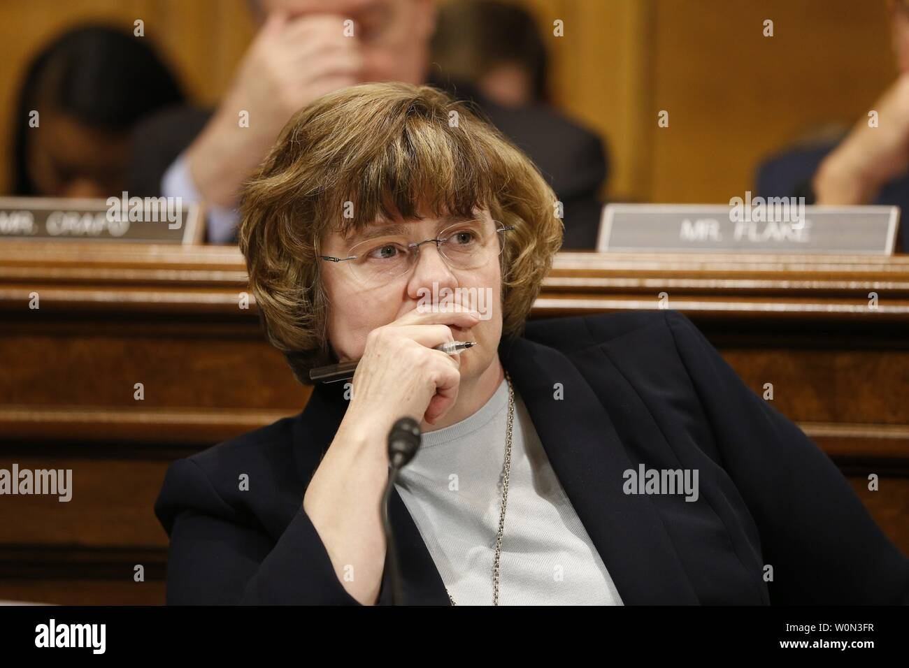 Christine Blasey Ford, the woman accusing Supreme Court nominee Brett Kavanaugh of sexually assaulting her at a party 36 years ago, testifies before the US Senate Judiciary Committee on Capitol Hill in Washington, DC, September 27, 2018.   Photo by Michael Reynolds/UPI Stock Photo