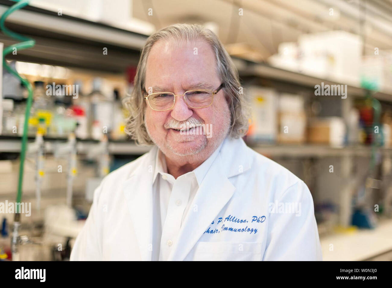 "James P. Allison (pictured here) of the University of Texas MD Anderson Cancer Center and Tasuku Honjo of Kyoto University were jointly awarded the Nobel Prize in Physiology or Medicine 2018 on October 1, 2018, ""for their discovery of cancer therapy by inhibition of negative immune regulation."" Photo courtesy University of Texas MD Anderson Cancer Center/UPI Stock Photo"