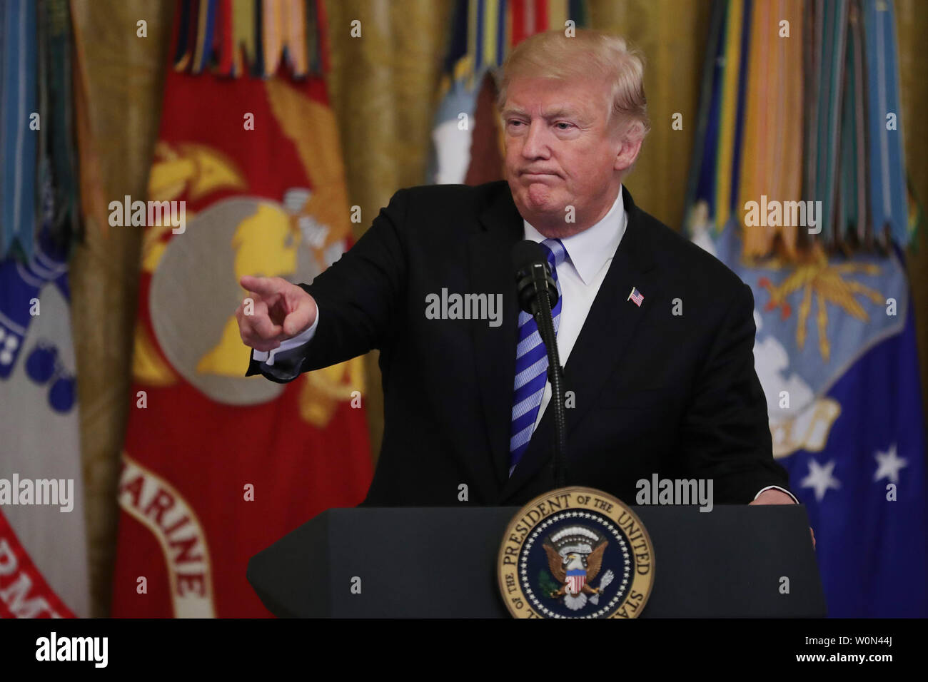 U.S. President Donald Trump commemorates the 35th anniversary of attack on the Beirut Barracks during an event in the East Room of the White House October 25, 2018 in Washington, DC. On October 23, 1983 two truck bombs struck the buildings housing Multinational Force in Lebanon (MNF) peacekeepers, killing 241 U.S. and 58 French peacekeepers and 6 civilians.    Photo by Chip Somodevilla/UPI Stock Photo